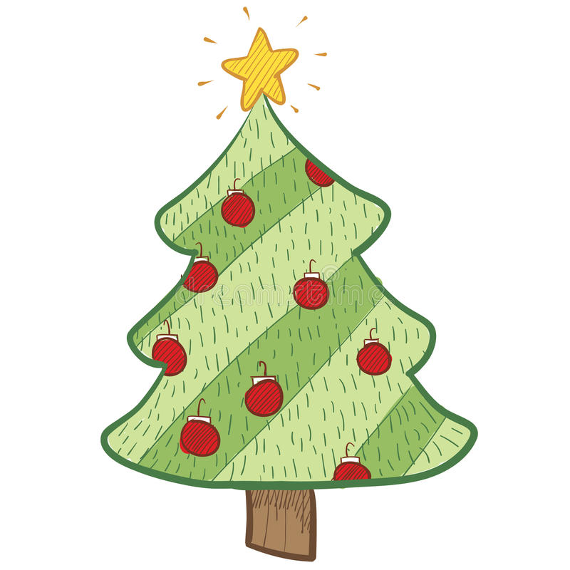 Färgrik jultreeteckning vektor illustrationer