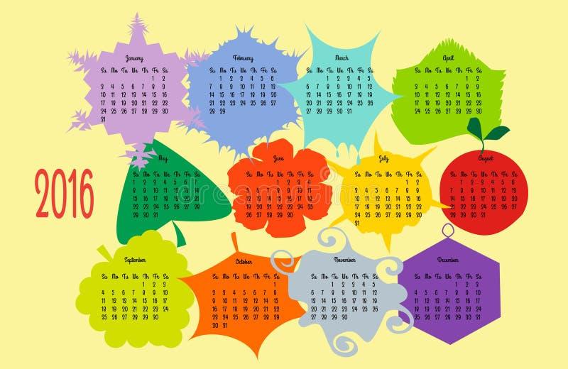 Färgrik kalender 2016 år royaltyfria foton
