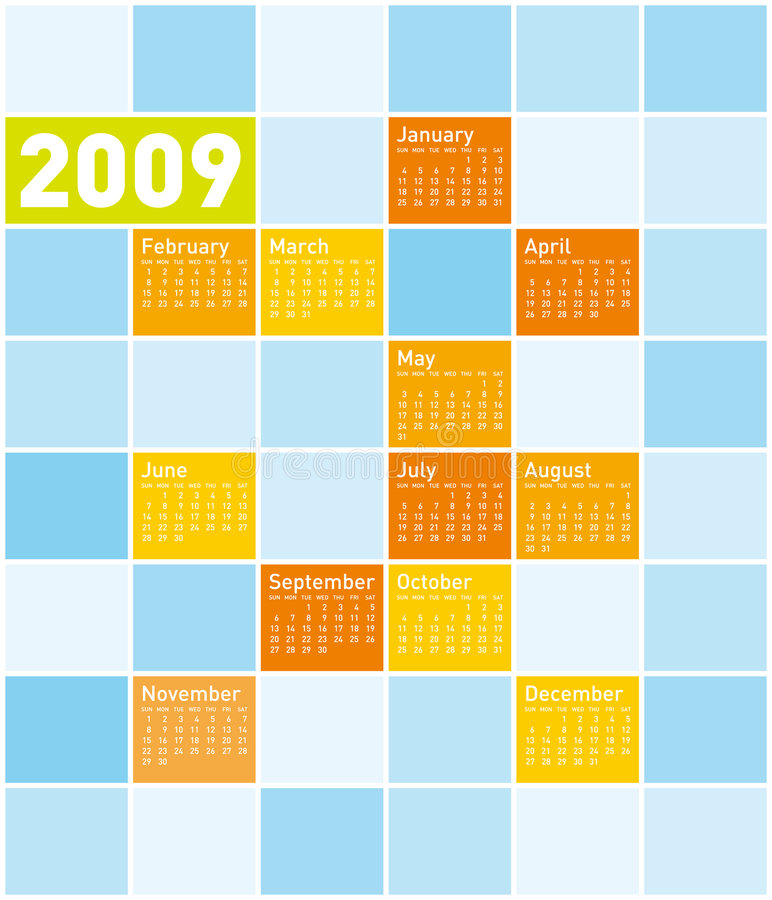 färgrik kalender 2009 stock illustrationer