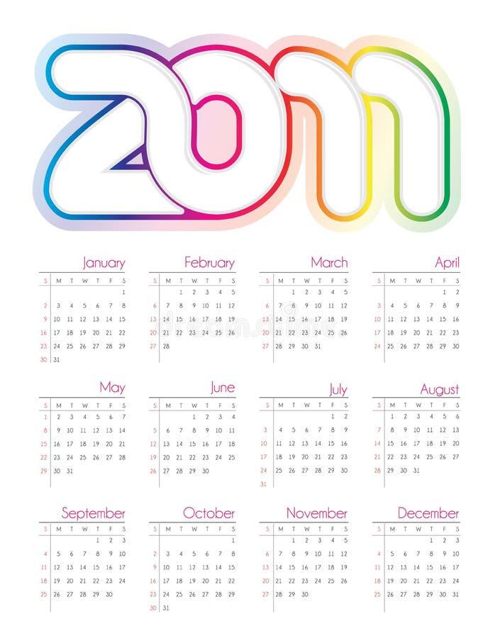 färgrik kalender 2011 stock illustrationer