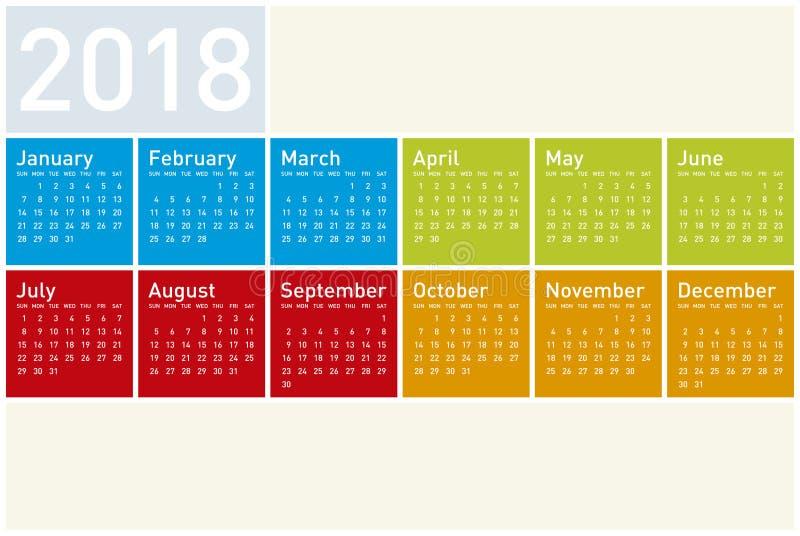 Färgrik kalender för året 2018, i vektorformat arkivfoto