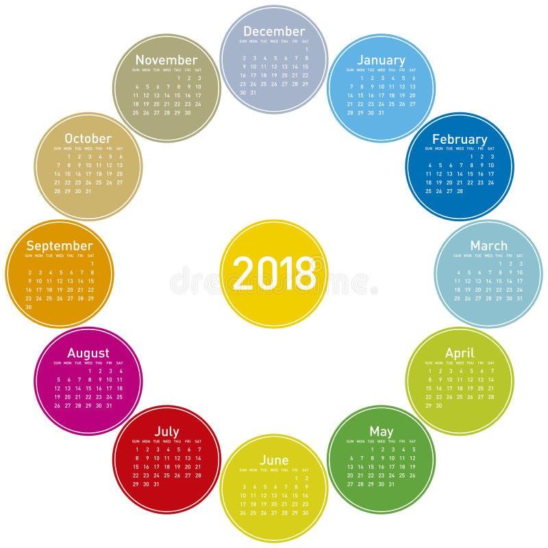 Färgrik kalender för 2018 Rund design fotografering för bildbyråer