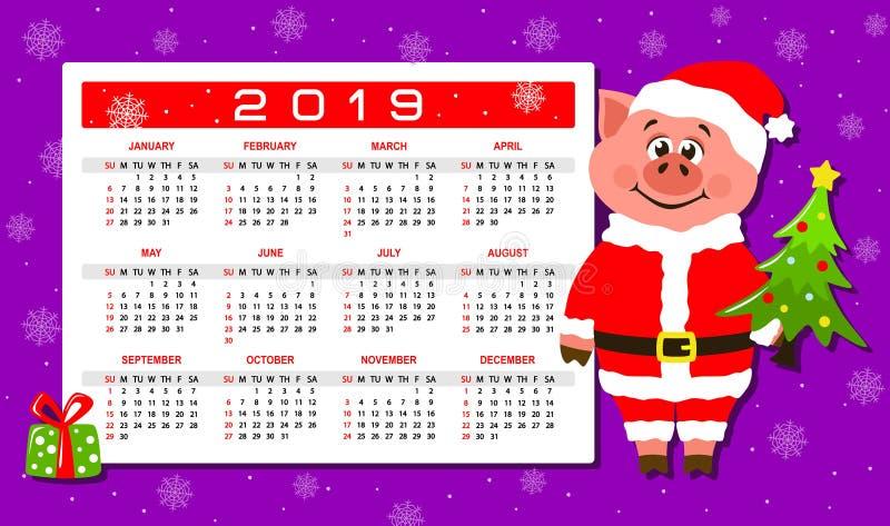 Färgrik kalender 2019 med ett svin i den Santa Claus dräkten stock illustrationer
