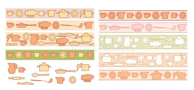 Färgrik kitchenware på ljusa bakgrunder - sömlösa horisontalgränser för vektor vektor illustrationer