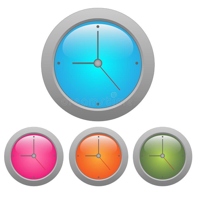 färgrik klocka stock illustrationer
