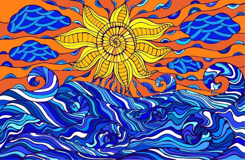 Färgrik klottersol, moln och havvågor Fantastiskt overkligt s royaltyfri illustrationer