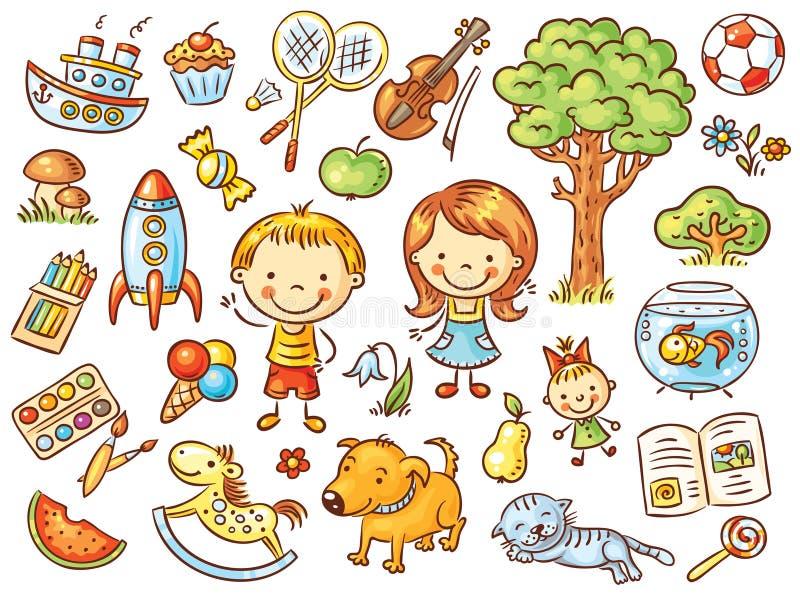 Färgrik klotteruppsättning av objekt från ett barns liv vektor illustrationer