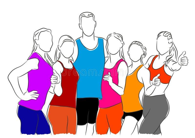 Färgrik knapphändig vektorillustration av en grupp av lyckligt folk vektor illustrationer