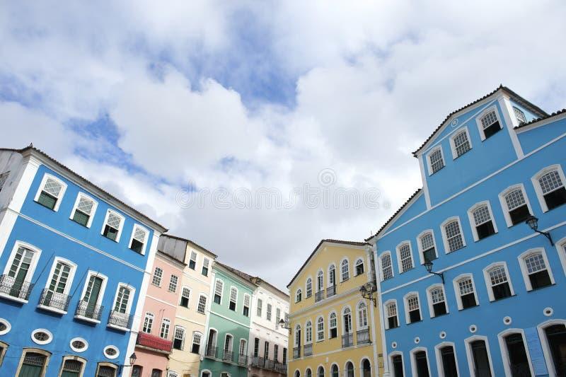 Färgrik kolonial arkitektur Pelourinho Salvador Brazil arkivfoto