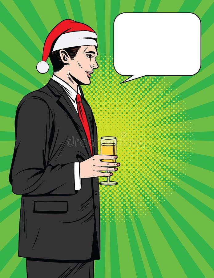 Färgrik komisk stilillustration för vektor av en stilig man som dricker champagne på det företags partiet för jul stock illustrationer
