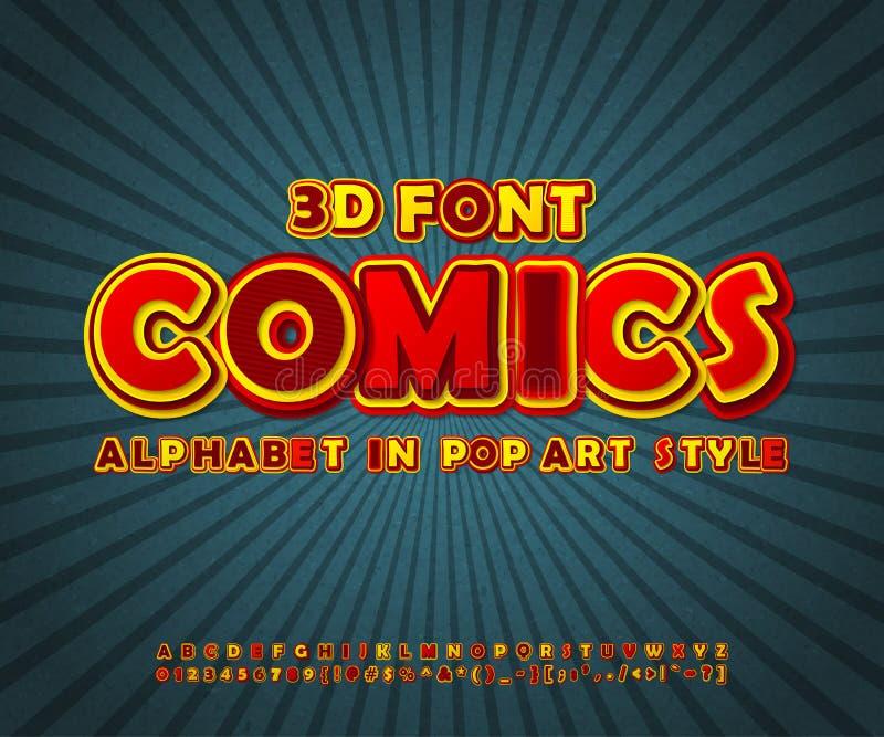 Färgrik komisk stilsort, alfabet Komikerbok, popkonst royaltyfri illustrationer
