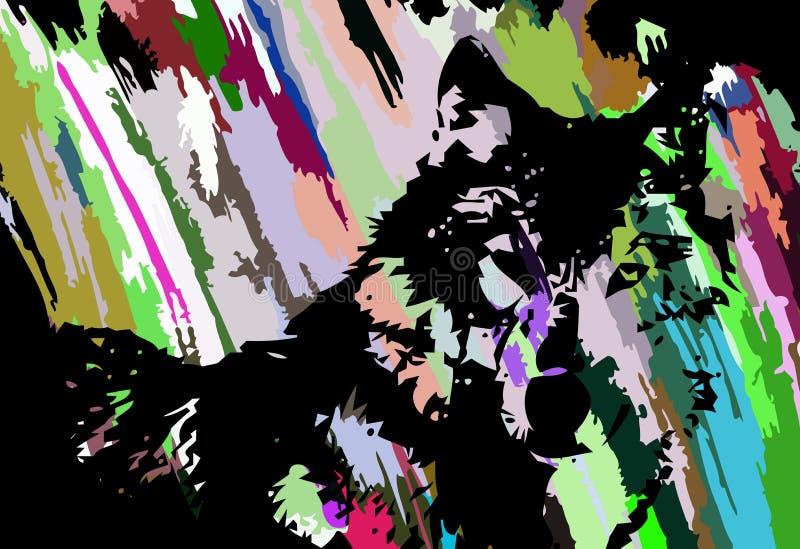 Färgrik konstnärlig vargframsida vektor illustrationer