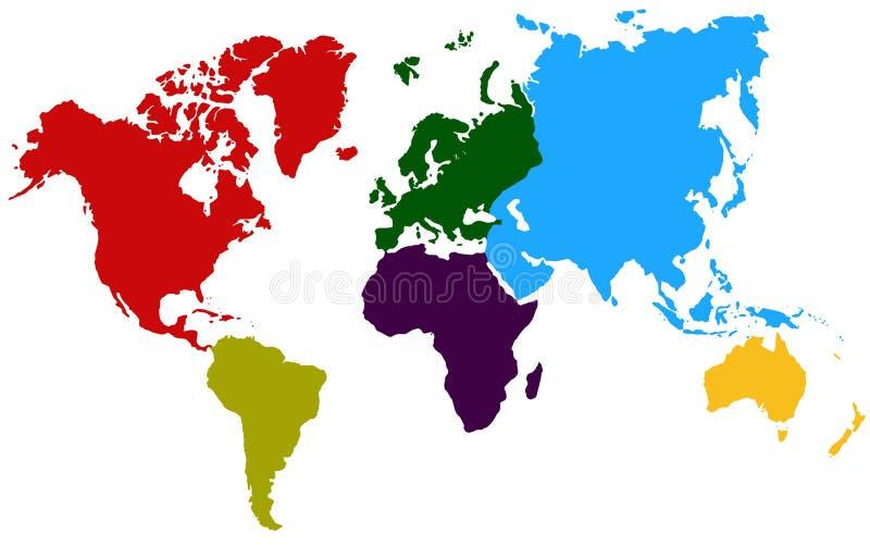 Färgrik kontinentvärldskarta royaltyfri illustrationer