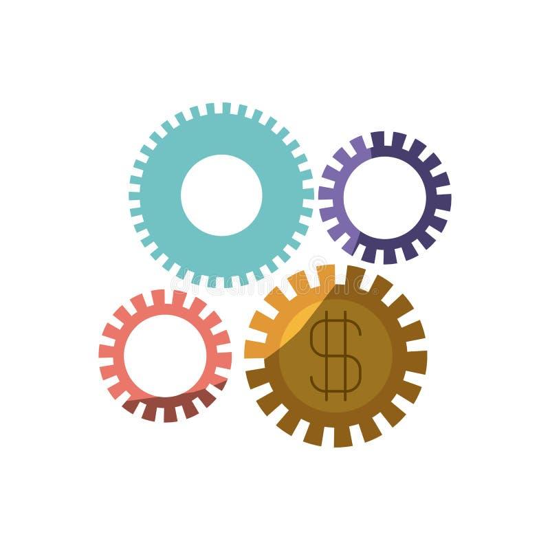 Färgrik kontur av kugghjul som föreställer ekonomisk utveckling med halv skugga stock illustrationer