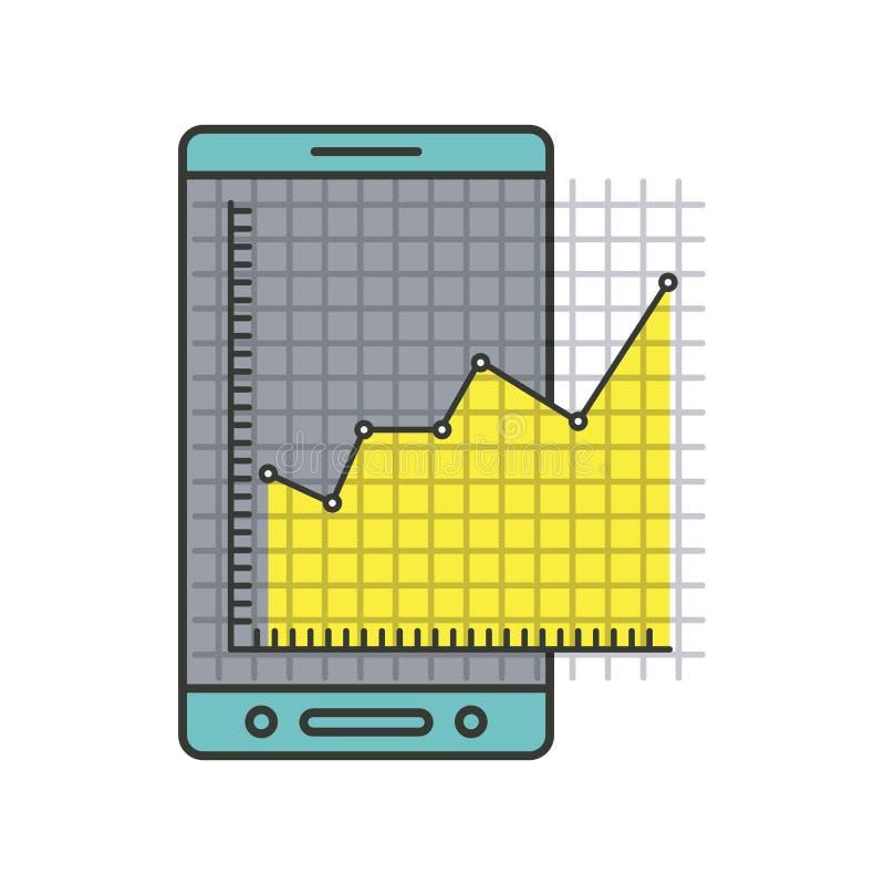 Färgrik kontur av mobiltelefonen och diagrammet för finansiell risk royaltyfri illustrationer