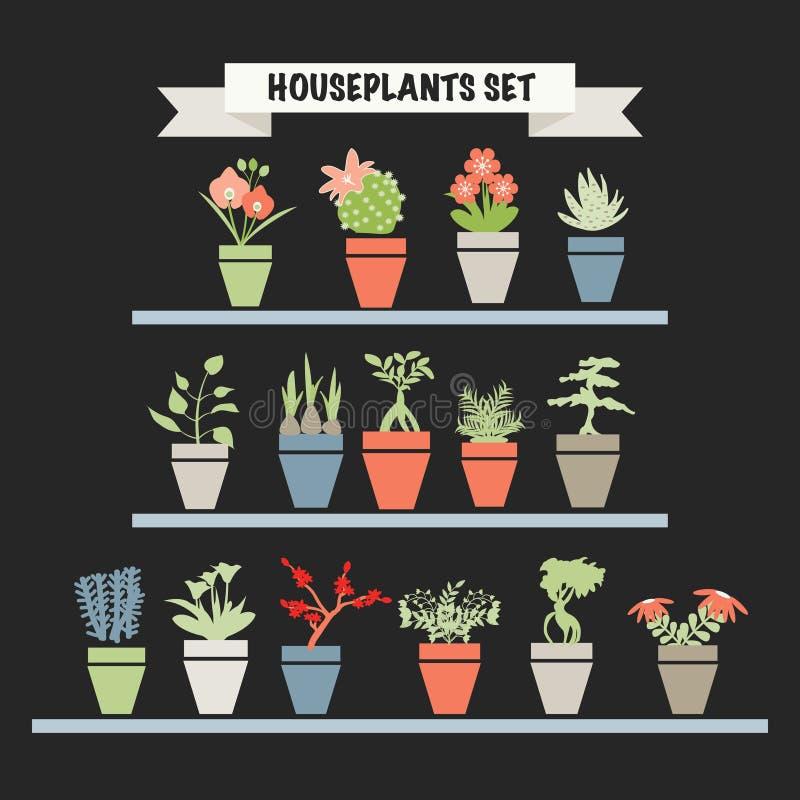 Färgrik kontur för samling av trädgårdblommor och örtplommoner vektor illustrationer