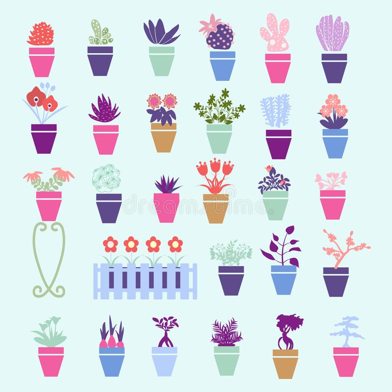 Färgrik kontur för samling av trädgården, husblommor och örten royaltyfri illustrationer