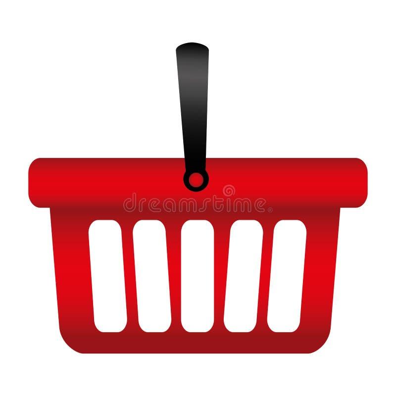 färgrik kontur med shoppingkorgen med ett handtag stock illustrationer