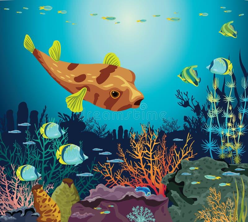 Färgrik korallrev med konturn av fiskar och undervattens- varelser på en blå havsbakgrund Vektorseascapeillustration royaltyfri illustrationer