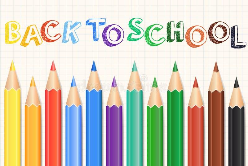 Färgrik kulör blyertspennauppsättning Realistiskt ritar tillbaka bakgrundsskola till vektor stock illustrationer