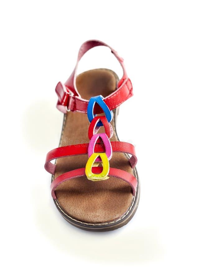 Färgrik kvinnlig sandal fotografering för bildbyråer
