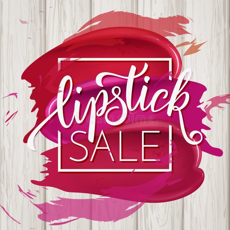 Färgrik läppstiftuppsättning för makeup, katalogmall Hand dragen bokstäver, skönhetsmedelbakgrund vektor illustrationer