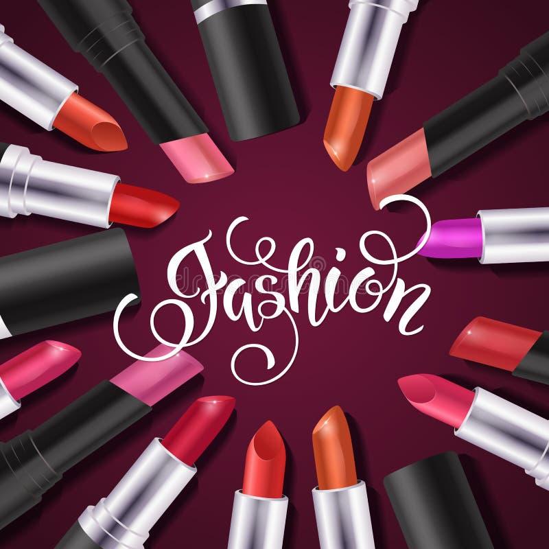 Färgrik läppstiftuppsättning för makeup, katalogmall Hand dragen bokstäver, skönhetsmedelbakgrund stock illustrationer