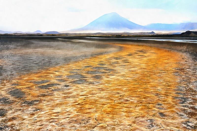 Färgrik landskapmålning av sjön Natron Afrika arkivbild