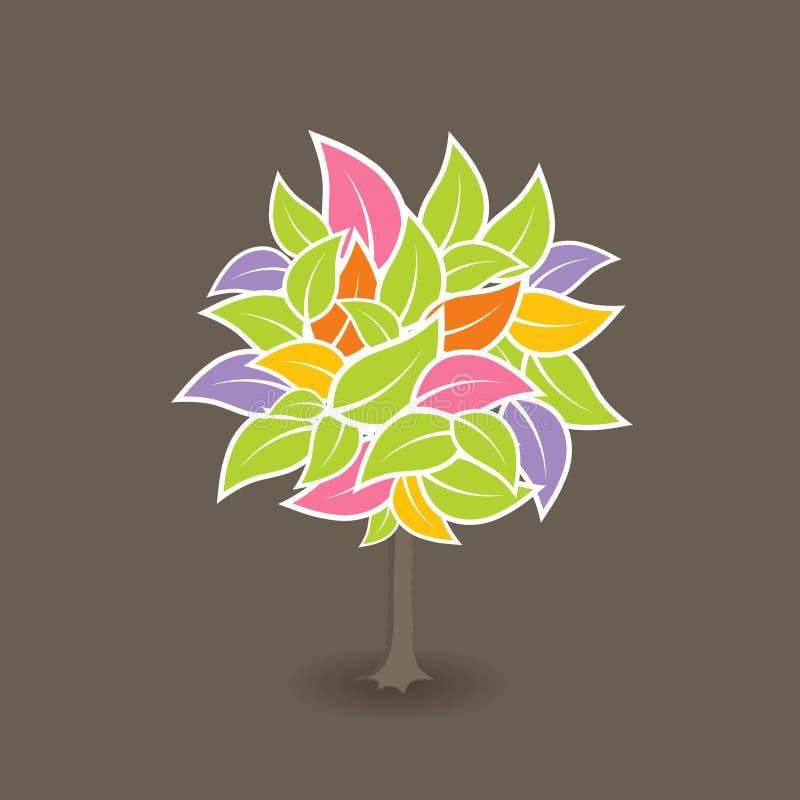 färgrik leafstreevektor stock illustrationer