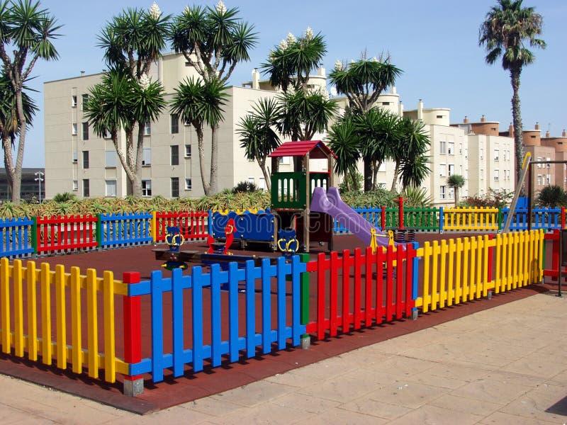 färgrik lekplats fotografering för bildbyråer