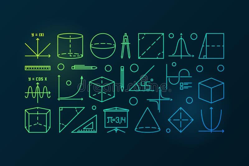 Färgrik linje illustration eller baner för trigonometri stock illustrationer