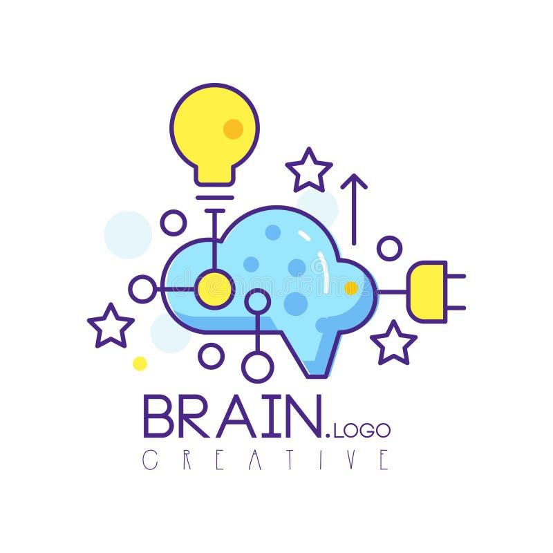Färgrik linje konstlogodesign med molnet, den ljusa kulan och stjärnor Vektoretikett för det idérika navet, utvecklingsmitt eller vektor illustrationer