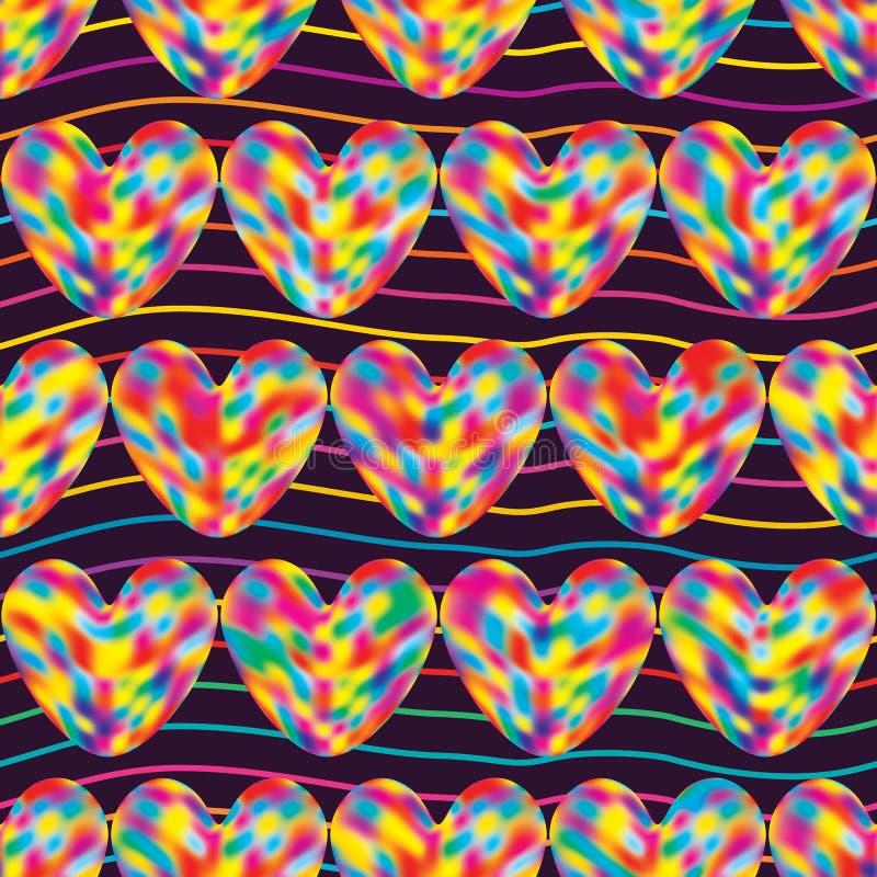 Färgrik linje purpurfärgad sömlös modell för förälskelse vektor illustrationer