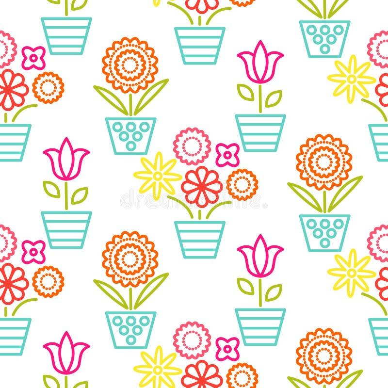 Färgrik linje sömlös vektor för blomkrukor royaltyfri illustrationer