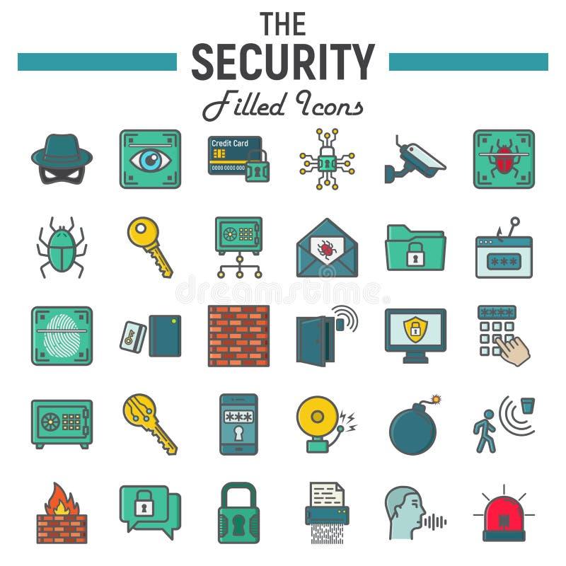 Färgrik linje symbolsuppsättning, cyberskydd för säkerhet stock illustrationer