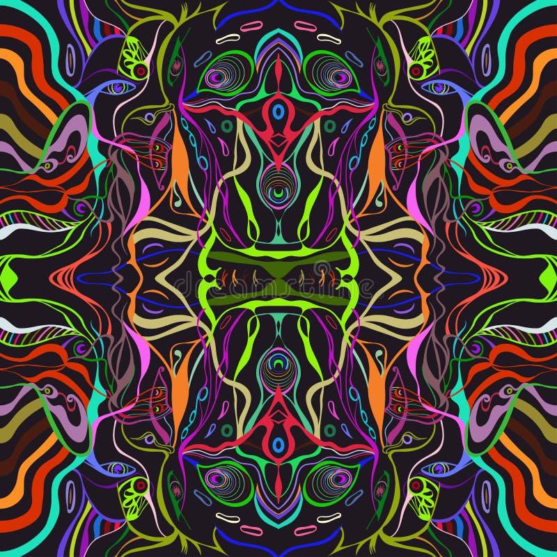 Färgrik livlig vektor av en framsida för ung kvinna i abstrakt stil stock illustrationer