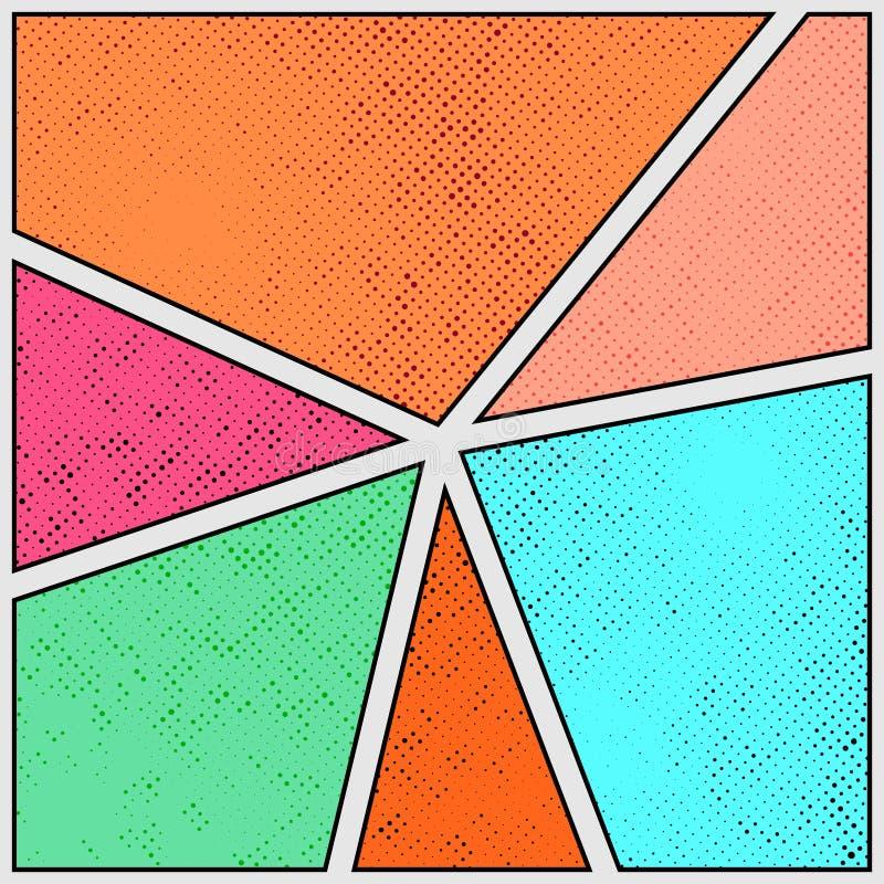 Färgrik ljus räkning för sida för komisk remsa för gammal stil Retro prickigt G vektor illustrationer