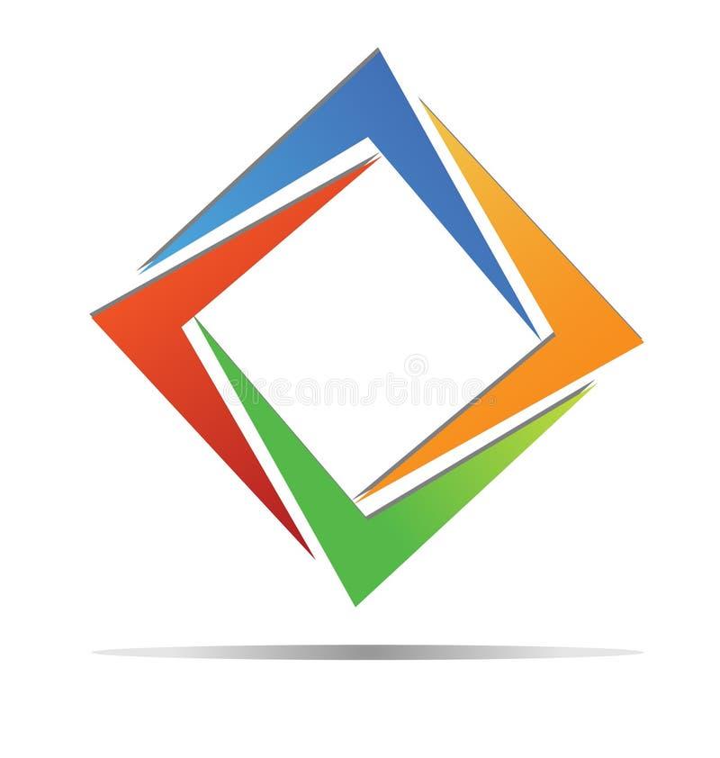 Färgrik logo för diamant royaltyfri illustrationer