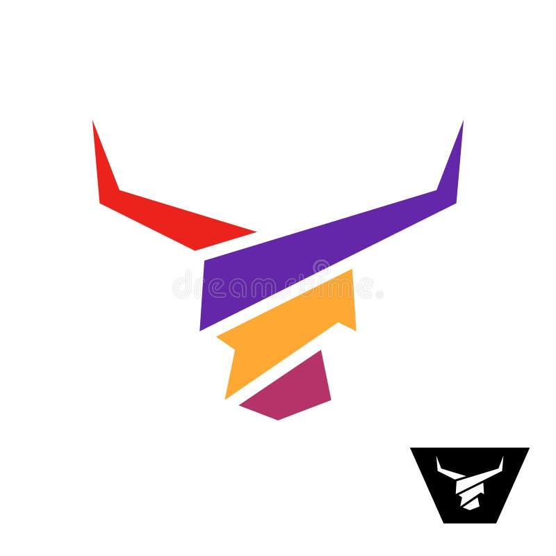 Färgrik logo för tjurhuvud Tjur med långa stiliserat symbol för hornfärg breda band royaltyfri illustrationer