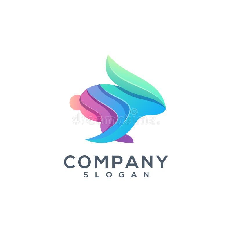 Färgrik logodesign för kanin som är klar att använda vektor illustrationer