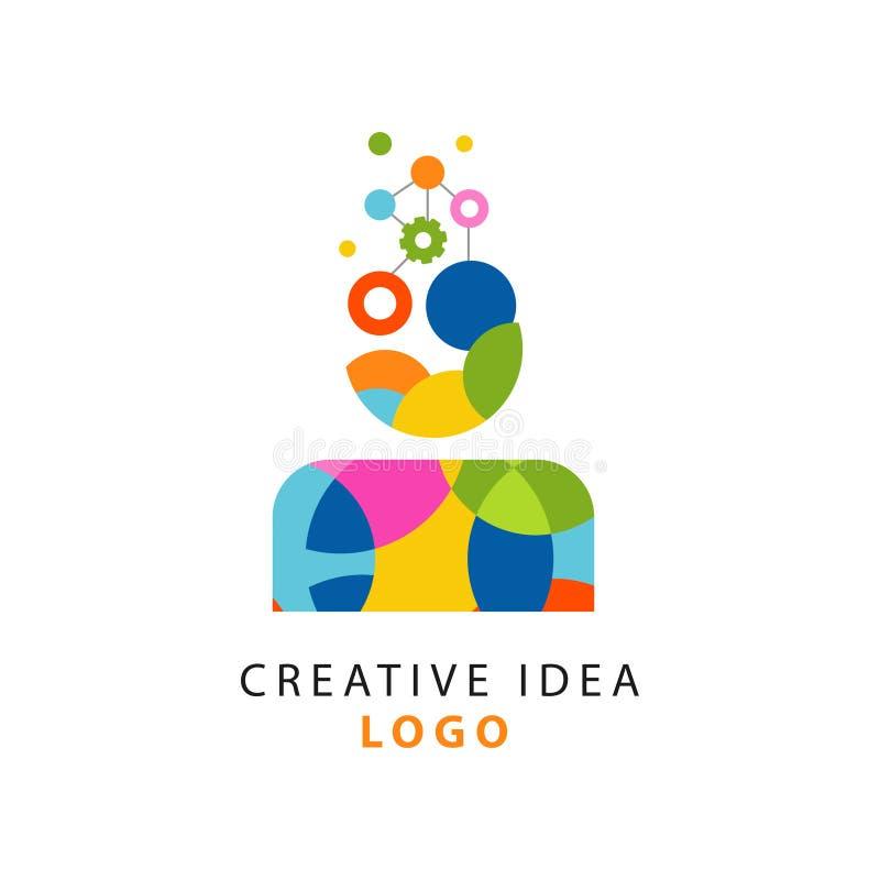 Färgrik logodesign med abstrakt geometrisk idérik idé eller mänsklig tänkande process Kugghjulmekanism i huvud för man s stock illustrationer