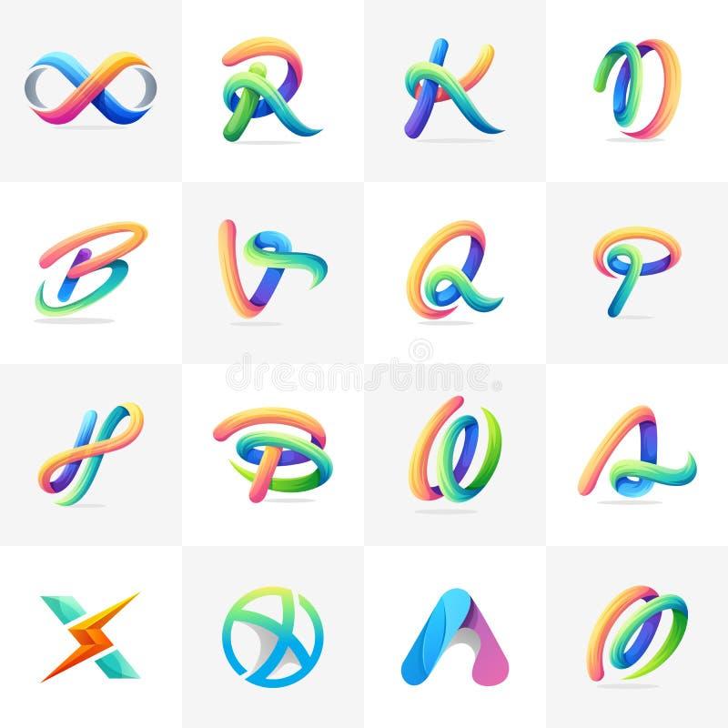 Färgrik logouppsättning som är klar att använda royaltyfri illustrationer
