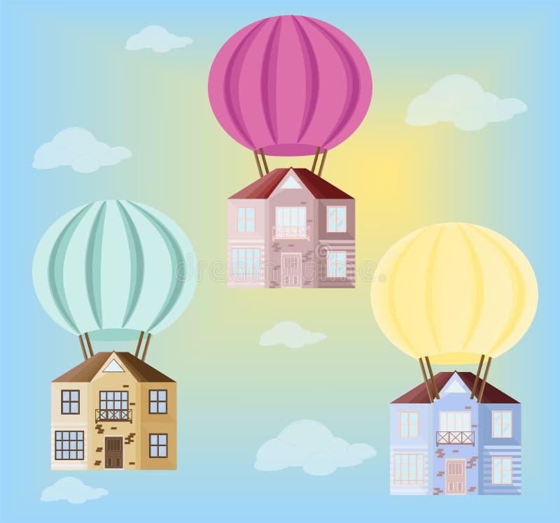 Färgrik luftballong med små hem i himmelvektorbakgrunden royaltyfri illustrationer