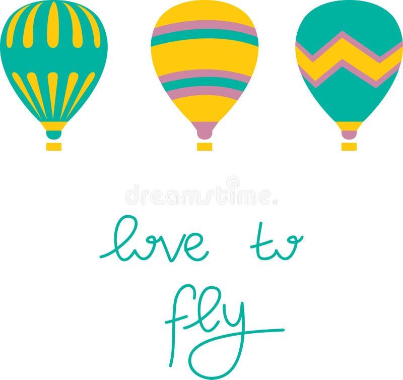 Färgrik luftballong på vit bakgrund stock illustrationer