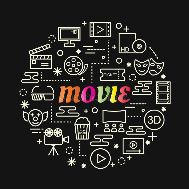 Färgrik lutning för film med linjen symbolsuppsättning royaltyfri illustrationer