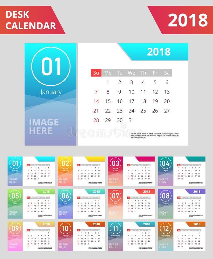 Färgrik lutning 2018 för skrivbordkalender royaltyfri illustrationer