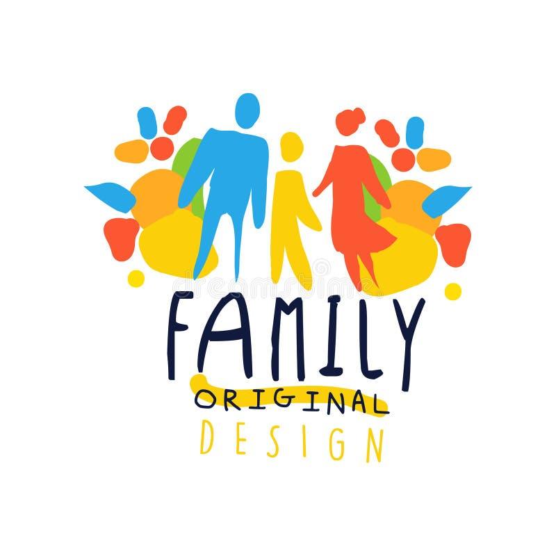 Färgrik lycklig familjlogodesign med modern, fadern och barnet stock illustrationer