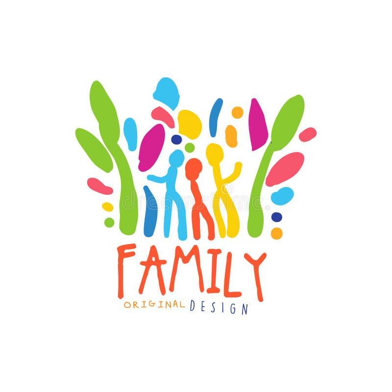 Färgrik lycklig mall för familjlogodesign vektor illustrationer