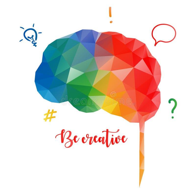 Färgrik mänsklig hjärna i låg poly stil idérikt begrepp vektor illustrationer