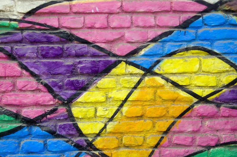 Färgrik målad bakgrund för hustegelstenvägg royaltyfria foton